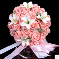 Free shipping Silk Artificial Bride Hands Holding Rose Flower Wedding Bridal Bouquet Drop Shipping, About 24 26 cm 004018010