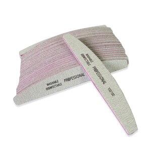 Image 5 - 50 ピース/ロット爪やすり 100/180 サンドペーパーサンディングバッファプロフェッショナルネイルファイルグレーボートサロン爪マニキュア UV ジェルのヒントツール