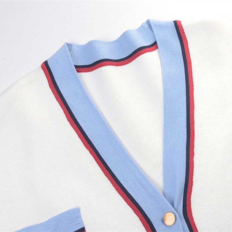 Rayé Piste D'hiver Tricot Outwear Manteau Grande Sruilee Femme En Shrug Taille Hauts Automne Cardigans Nouveau 2019 White Maxi Cardigan Poches TxaqOAwxUP
