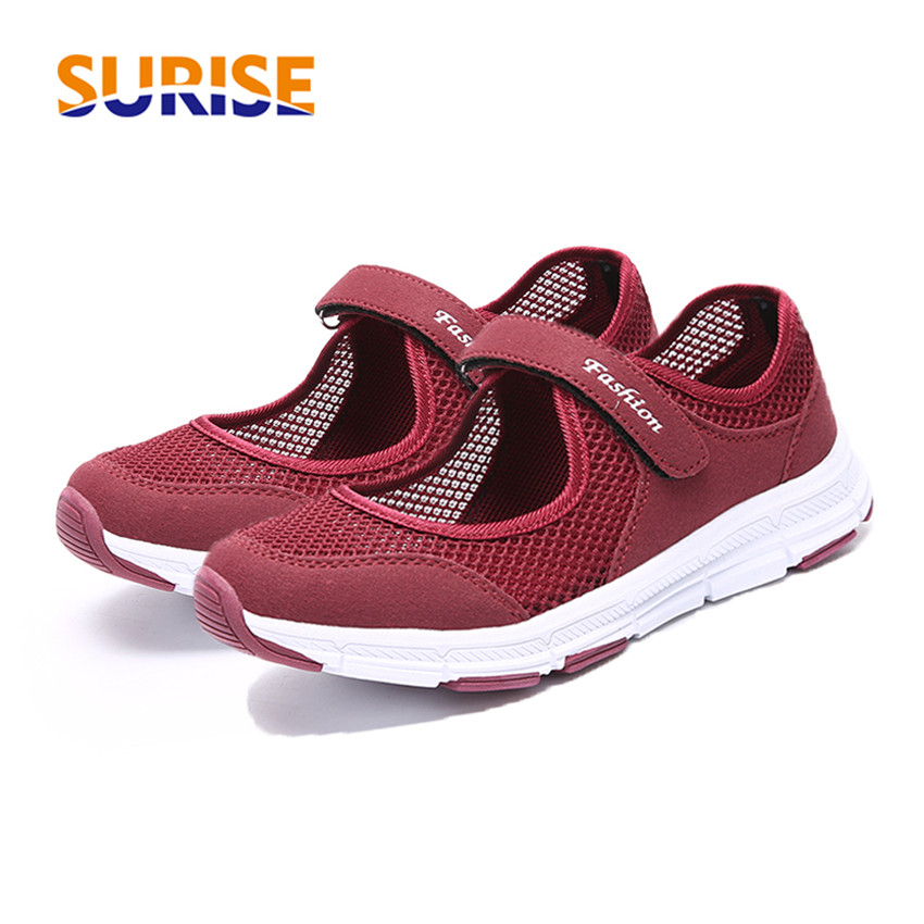 2019 Casual Summer Women Platform Flats Cool Breathable Mesh Round Toe Hook Loop Lady Creeper Black Red Light Mary Jane Sneakers