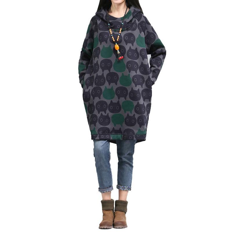 Pullover Sweatshirts Realistisch 2017 Frauen Plus Größe Übergroßen Hoodie Vintage Katze Gedruckt Lange Pullover Winter Dicke Warme Mit Kapuze Lange Sweatshirt Kleid S6208 Hohe Sicherheit