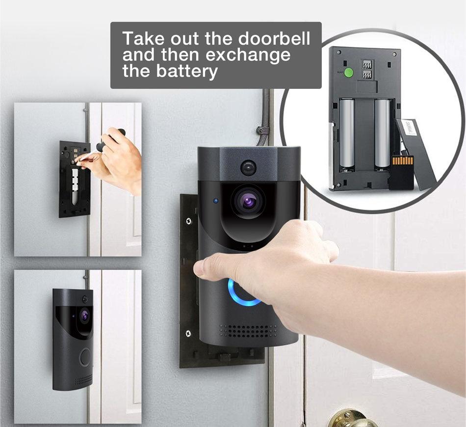 WIFI sonnette caméra sécurité intelligente IP65 étanche interphone vidéo porte cloche 720 P sapin alarme IR vision nocturne 18650 batterie puissance - 6