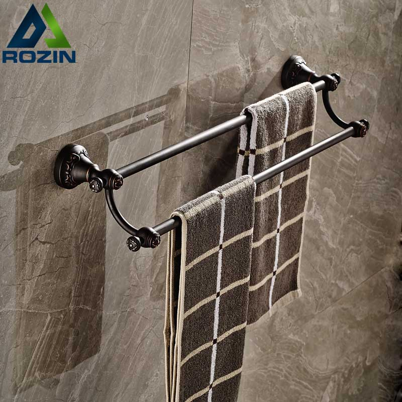 Artistic Oil Rubbed Bronze Towel Bar Wall Mounted Bathroom Double Towel Rail Rod luxury artistic towel bar single towel holder wall mounted bathroom towel rail rod oil rubbed bronze finish