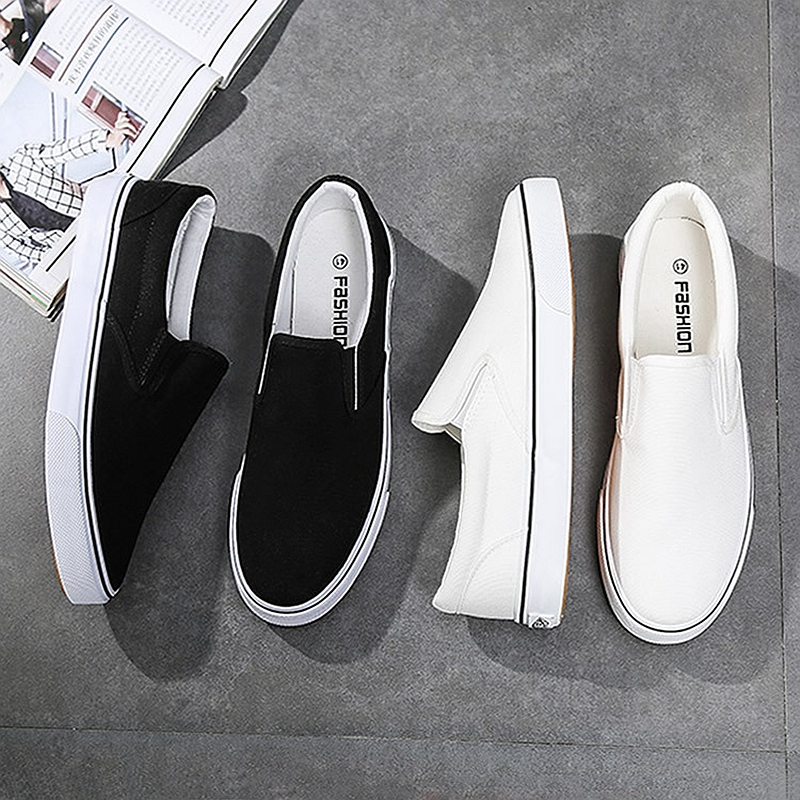 Image 3 - Black White Solid Men Casual Shoes Simple Canvas Mens Loafers 2019 High Quality Anti Slip Comfortable Vulcanized Shoes Man Flats-in Men's Casual Shoes from Shoes