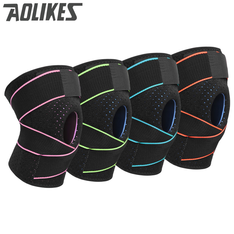 New Knee Support Coolfit Quick dry Silica gel 4 Springs Stabilizer Sports KneePad Brace Patella Knee Pads Hole Knee Protector