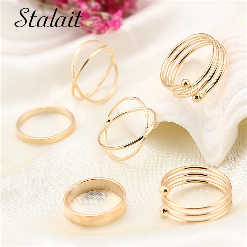 6 PCS Hot Unique Lot Tail Ring Set Smooth Cross Punk Gold Color Finger Ring Set Best Selling Set of Rings For Women Girl