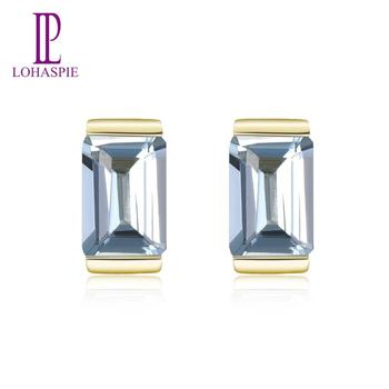 LP 100% Natural 9K Yellow Gold Aquamarine Stud Earrings for Women Engagement Gemstone Earrings Fine Jewelry Valentine's Gift