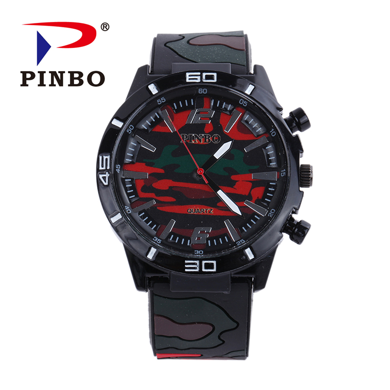 PINBO Men Watch Top Brand Luxury military sport Wristwatch Silicone Male Clock Quartz Watch Wrist Quartz-watch Relogio Masculino mens watch top luxury brand fashion hollow clock male casual sport wristwatch men pirate skull style quartz watch reloj homber
