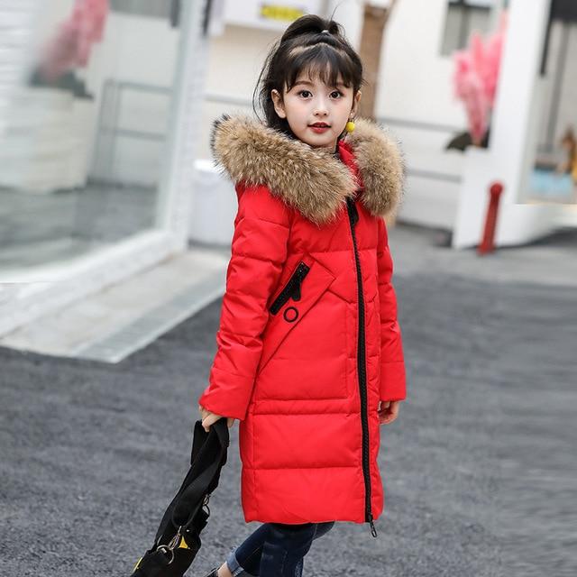 2019 Winter Girl's Down jackets coat long model BABY Girl warm Coats thick duck down Warm jacket Children Outerwear down coats