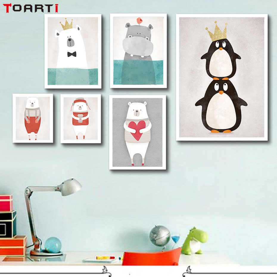 Nordic Cute Animals Bear Hippo Penguins Diy Canvas Painting Print And  Poster Kids Room Wall Pictures For Living Room Home Decor|prints and  posters|picture for living roomwall pictures - AliExpress