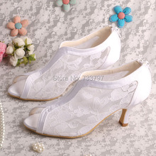 Wedopus MW323 Элегантный Белый Кружева Peep Toe Свадебные Туфли Свадебный Груза падения