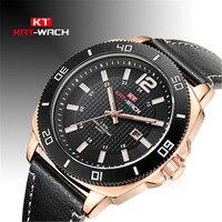 KAT WACH Fashion Simple Mens Watches Waterproof Leather Quartz Wristwatches Military Calendar Business Clock Men Saat