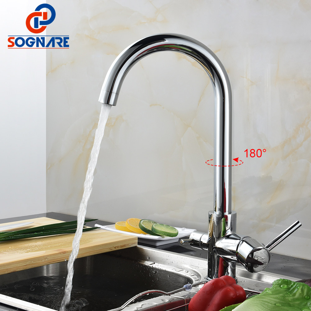SOGNARE Drinking Water Filter Faucet Dual Handle Hot and Cold 3-way Filter Kitchen Mixer Taps Chrome Polished Torneira Cozinha 1 4   chrome drinking ro water filter