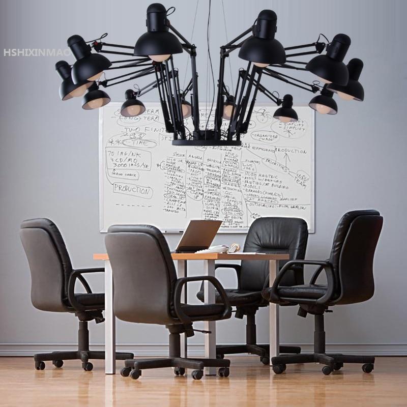 American Retro промышленного ветер выдвижной Железный Паук Люстра Творческий офис магазин одежды Бар Ресторан свет AC85-265V