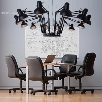 Amerika Retro Angin Industri Besi Ditarik Spider Chandelier Kreatif Kantor Pakaian Toko Bar Restoran Cahaya AC85-265V