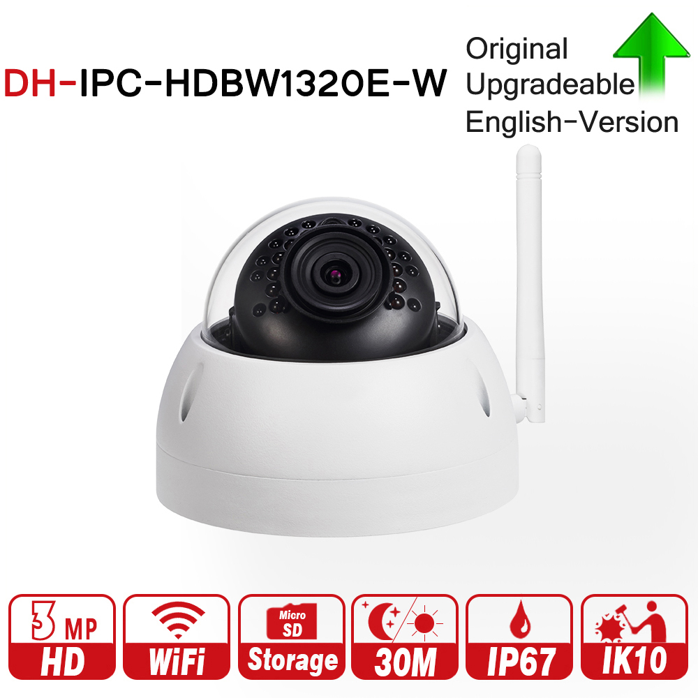 DH IPC-HDBW1320E-W with logo original 3MP IR Mini Dome WiFi Network IP Camera Wireless Security Camera 3MP IR 30m Camera dahua 3mp ip mini camera waterproof ipc hdbw1320e onvif hd ip67 ir poe network dome security camera