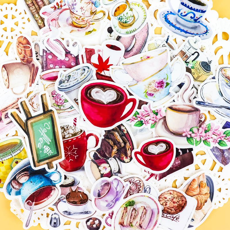 38pcs Creative Cute Self-made Gourmet Drink Sticker Coffee Scrapbooking Cartoon Paper Stickers / Waterproof  Stationery Diy