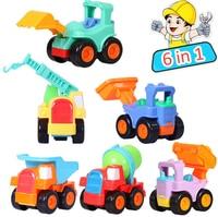 6 in 1 Children Mini Engineering machine Car Derrick Excavator Roller Mixer Dumpers Bulldozer Beach Sand Toy Inertia simulation
