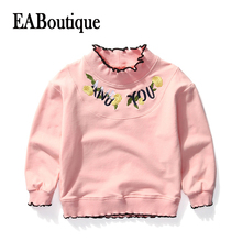 EABoutique AND YOU Floral Embroidery Patch Ruffle Sleeve girl winter top long sleeve Girls t-shirt