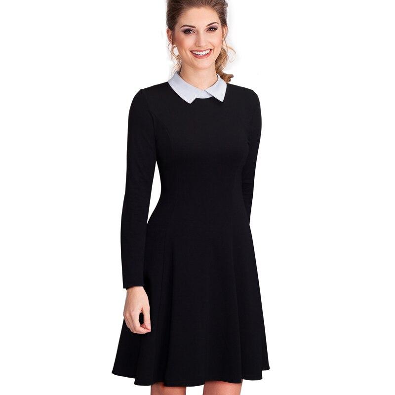Women Elegant Formal Work Office Business Pleated A-line Dress Classic Turn-down Collar Black Dress EA016
