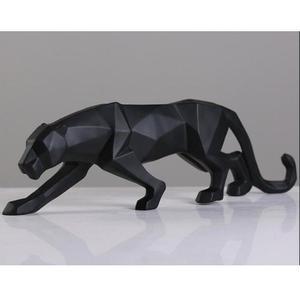Image 2 - מודרני מופשט שחור פנתר פיסול גיאומטרי שרף נמר פסל חיות בר מתנת מלאכת קישוט אביזרי ריהוט