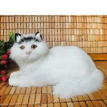 lovely simulation cat toy polyethylene & furs handicraft black head white lying cat doll about 28x15x18cm