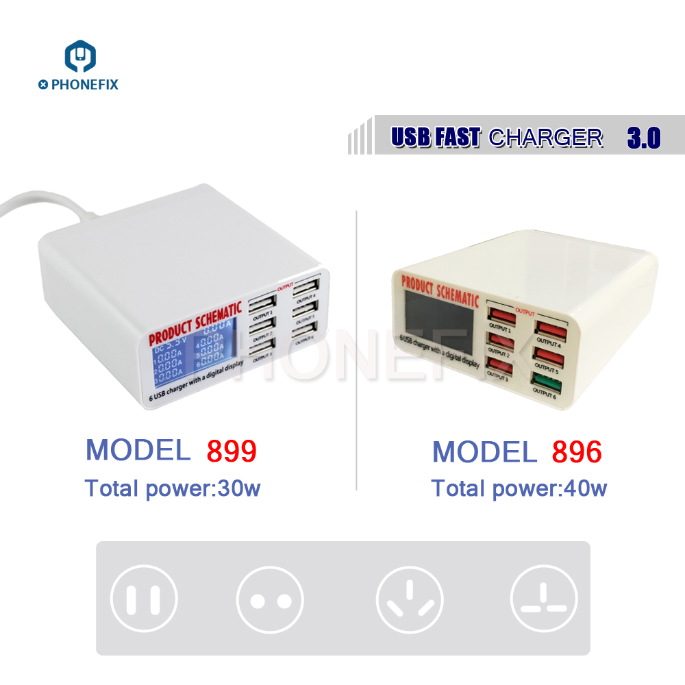 40W 6 Ports USB Fast Charger Charging Station With Digital LCD Display For Iphone Samsung Ipad Mobile Phone Fast Charging Tools