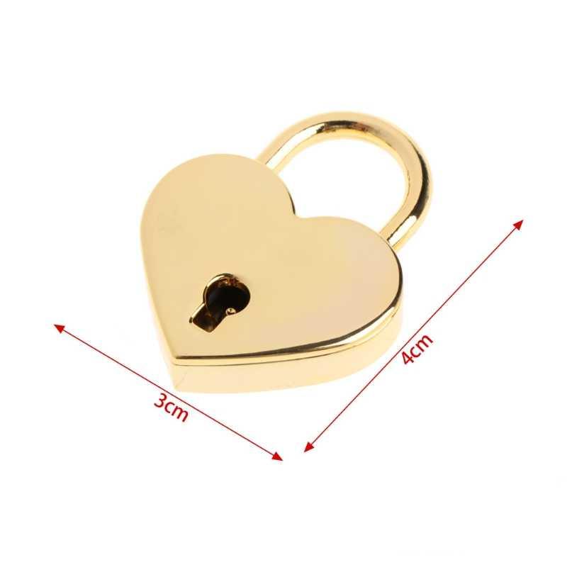 Маленький металлический замок в форме сердца мини замок с ключом для контейнер для хранения ювелирных изделий коробка Дневник Книга игрушка багаж Сумочка Маленький ремесло дневник
