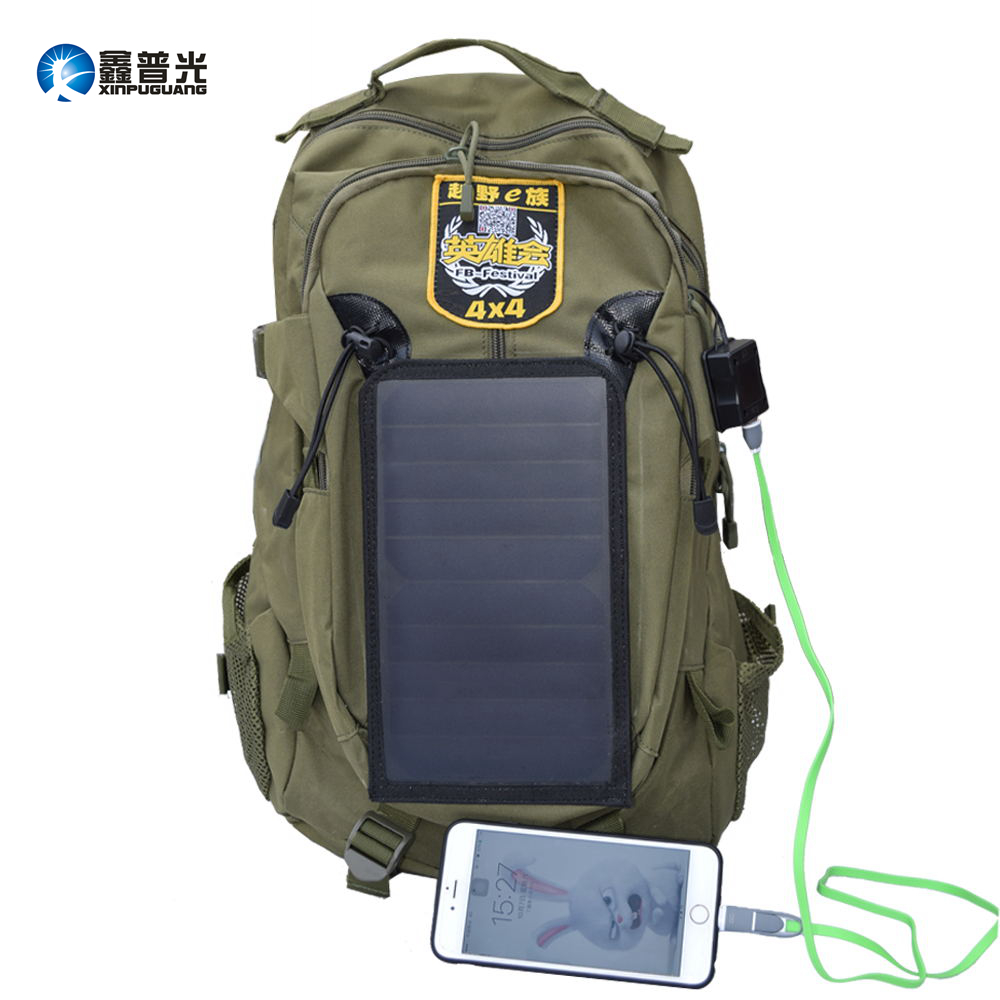 Xinpuguang 6.5W 6V backpack solar panel built-in khaki Polyester USB power charger for mobile phone camping travel climbing use
