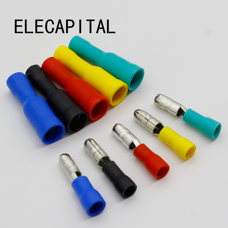 Female and Male Insulated Electric Connector Crimp Bullet terminal for 22~16 AWG Audio Wiring 120pcs set 3 5mm brass bullet connector terminal male