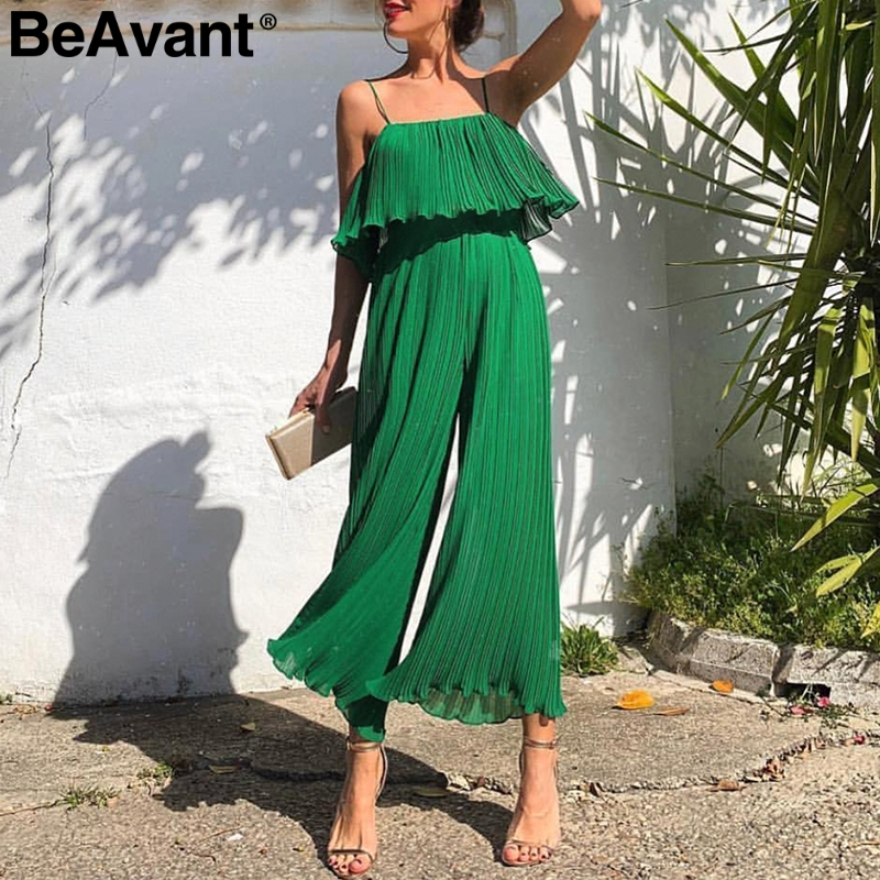 BeAvant Spaghetti strap summer   jumpsuit   women Elegant ruffled pleated female   jumpsuits   High waist wide-leg overalls romper green