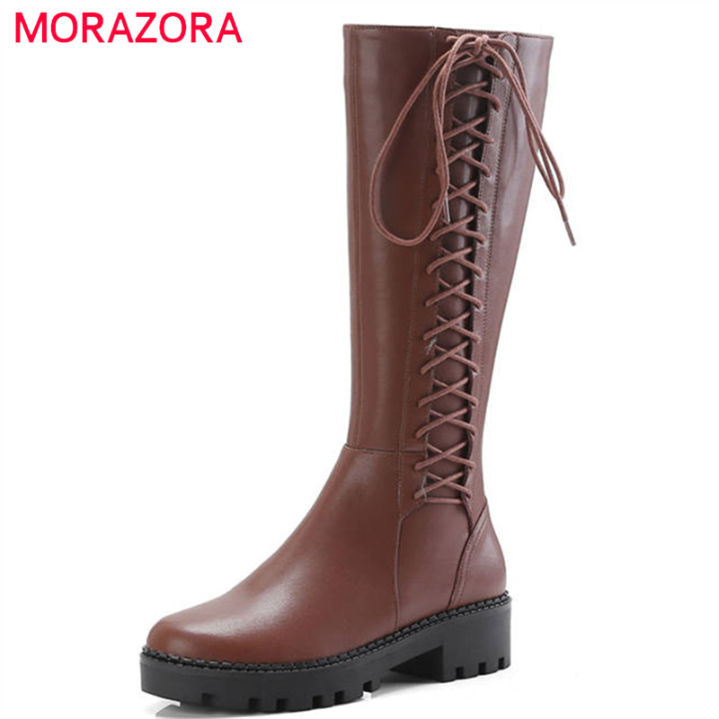 MORAZORA 2018 newest genuine leather knee high boots women round toe autumn winter boots zipper lace up punk dress shoes woman цена 2017