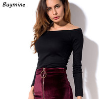 Buymine Sexy Off Shoulder Tops Women Basic Long Sleeve T Shirt Ribbed Slash Neck Knitted Tops