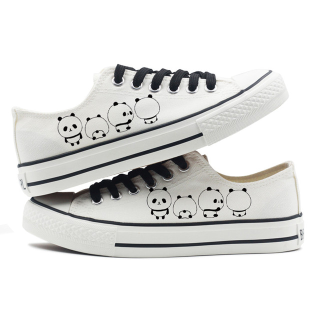 b02963845a9 Cute Panda Print Black White Shoes Women Sneakers 2018 Autumn Low Canvas  Shoes Casual Tenis Feminino Size 41 42 43