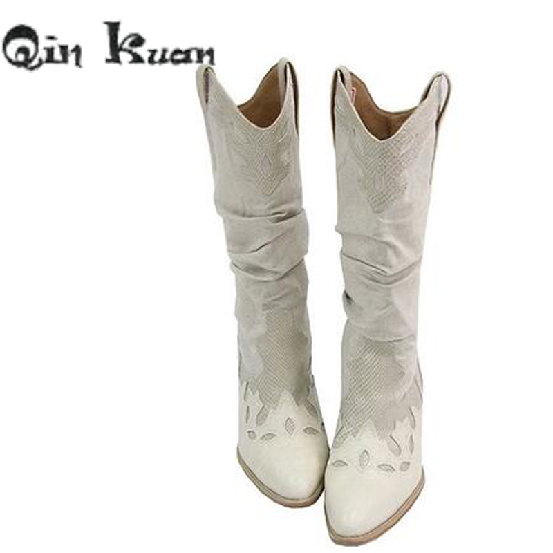 5c582adf17 Γυναικεία παπούτσια Women Brand Pointed Toe Western Cowboy Boots Lady  Carving Mid Calf Shoes Girl Square Heel Knight Snow Boots Size 35-42