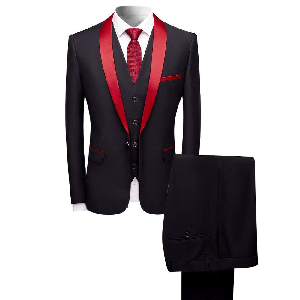red shawl lapel men suit fashion black Slim suit men business casual suit groom 3 piece suit (coat+pants+vest) large size xs-5XL