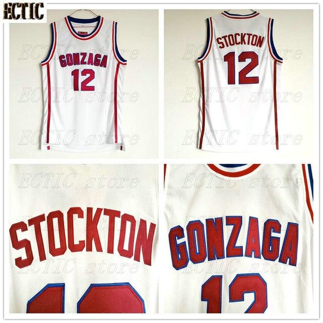 Ectic John Stockton Basketball Jersey 12 Gonzaga Bulldogs College
