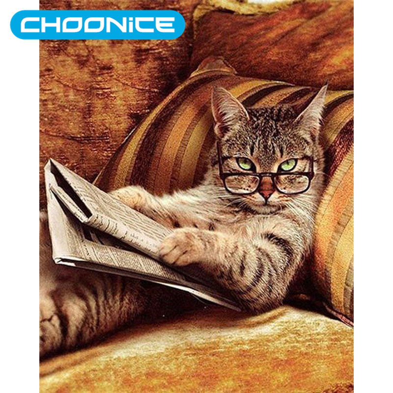 Cat Read The Newspaper Sofa Diamond Painting Kitten DIY 3D Diamond Embroidery Pokemon Cat Picture Beading Embroidery Kits