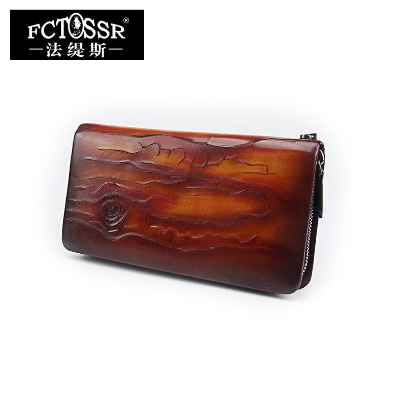 Handmade Long Leather Standard Wallets 2018 Genuine Cow Leather Floral Card Holder Cell Phone Pocket Women's Purse Men Wallet panelled wallets cell phone pocket purse 2018 handmade natural leather vintage long style women s wallet