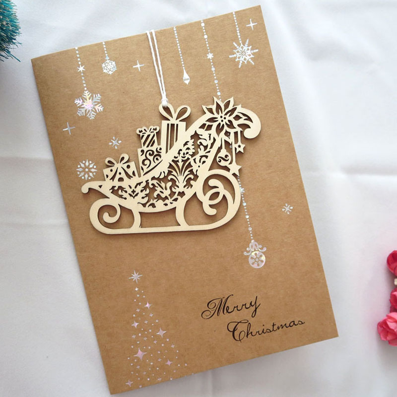 8 pcs merry christmas 3d laser cut up paper high end business greeting christmas cards wood carving christmas ornaments on aliexpresscom alibaba group - Laser Cut Christmas Cards