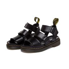 2016 Summer Roman Unsexy Couple Sandals Shoes Genuine Leather Retro Women And Men Sandals Black White Platform Flat Sandals XP35
