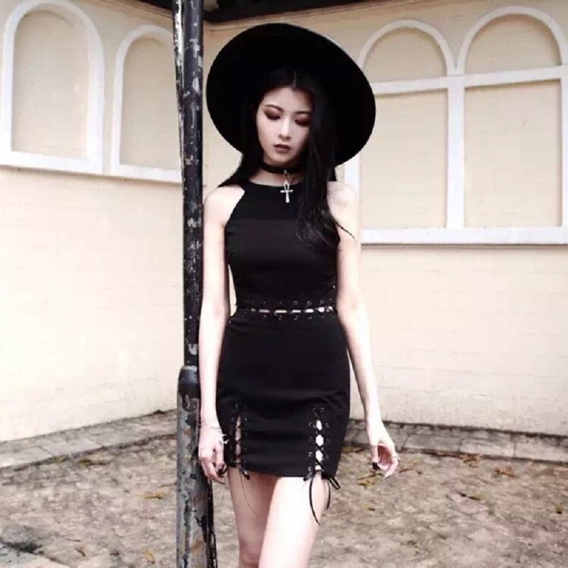 27a7b970515 Gothic Girl Dress Halter Strapless Hollow Out Fake Two Black Women ...