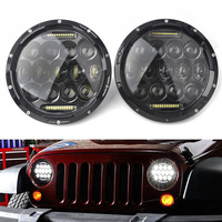 2PCS 75w Led Headlight 7inch Round High DC 12v 24v External Lights Lamps Headlamp For Jeep