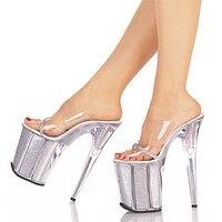 20cm Unusual High Heel Shoes Silver 8 Inch High Heel Gladiator Sandals Crystal Platform Slippers Made