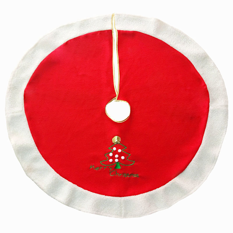 Red Christmas Tree Skirt Embroidered Christmas Tree Merry Christmas For XMAS Decoration New Year Home Party Supplies
