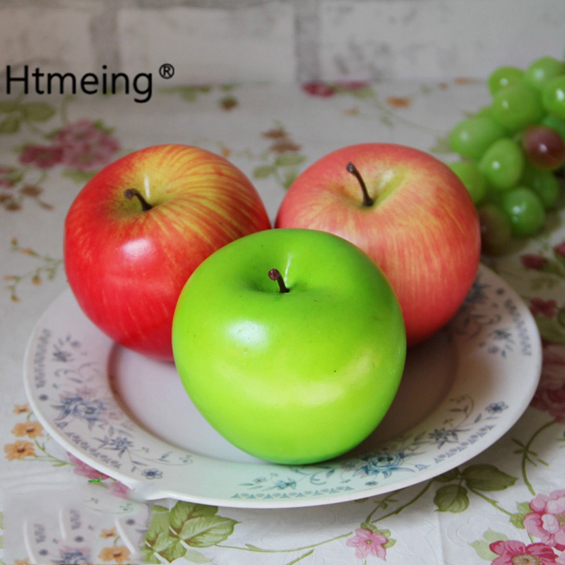 Facaily Lifelike Artificial Apples 10 PCS Green Red Faux Fake Apples Simulation Model Fruit Home House Kitchen Cabinet Decoration