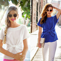New Womens Tops Fashion 2016 Women Summer Chiffon Blouse Short Sleeve Plus Size Chiffon Tops Casual Shirt Blue women blouses