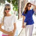 Nueva Moda Para Mujer Tops 2016 Verano de Las Mujeres Blusa de Gasa de Manga Corta Más El Tamaño de Gasa Tops Casual Camisa blusas Azules