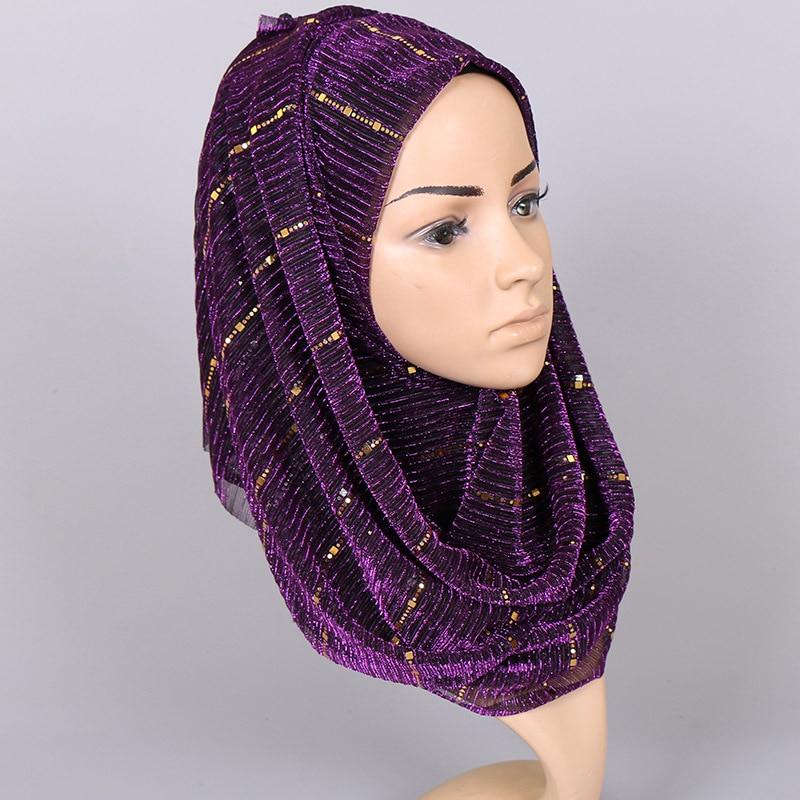 Image 4 - Beautiful! Magic filament Sequin Scarves Women Muslim Hijabs  Shimmer Lurex Long Shawl Wrinkled Islamic Wedding Veil Head  CoverWomens Scarves