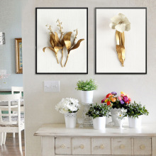 Gold Flower Painting For Room Canvas Painting Wall Nordic Wall Pictures For Living Room Posters And Prints Canvas Art Unframed